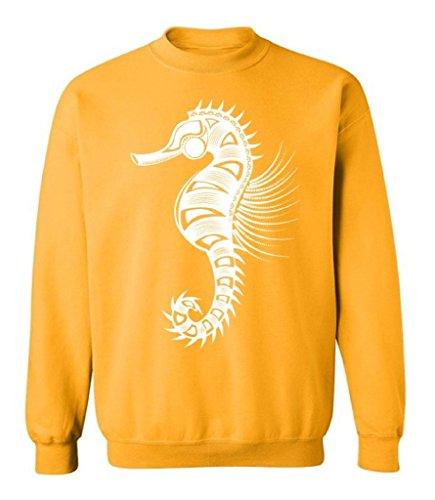 Raxo Sea Horse Crewneck White Logo Animal Lover Ocean Fish Nautical Sweatshirt S (Animal Logo Sweatshirt)