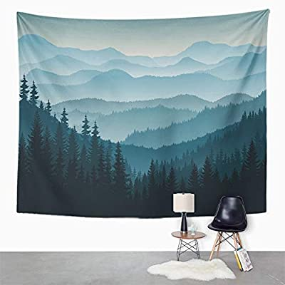 Emvency Tapestry Artwork Wall Hanging Blue Forest Morning in Mountains Tree Pine Silhouette Landscape Taiga Canada 50x60 Inches Tapestries Mattress Tablecloth Curtain Home Decor Print