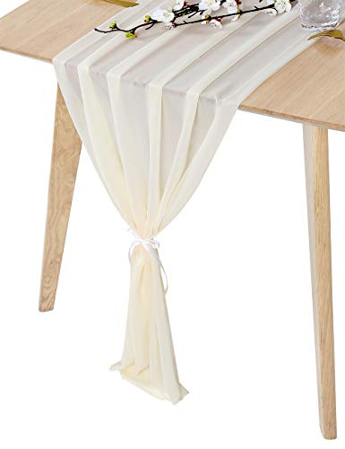 (QueenDream 27 x 120 Inches Ivory Sheer Chiffon Table Runner for Bridal Shower Bachelorette Party Baby Girl Shower Girl's Sweet 16)