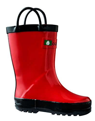 OAKI Kids Rubber Rain Boots with Easy-On Handles, Fiery Red, 9T US Toddler ()