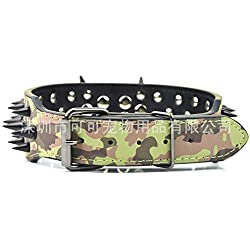 NIGHT WALL Collares de Perro de lujoCollares de Perro Grandes con Picos Negros para Mascotas, Camuflaje, Collares de Perro de 5 * 61 cm de Piel para Perros medianos