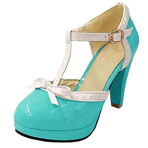 Vitalo Women's High Heel Platform Pumps with Bows Vintage T Bar Court Shoes (3 B(M) US, Teal)
