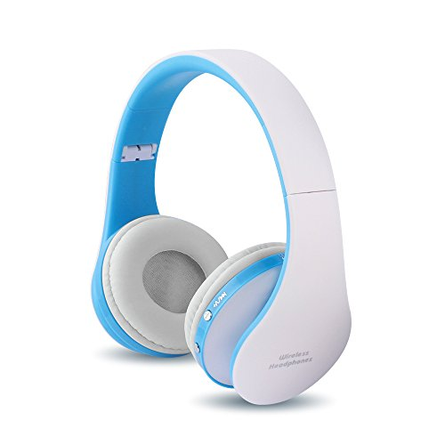 FX-Viktaria Dual Mode Headset, On Ear Headphone Foldable,Stereo Headset Lightweight Design, Soft, Compatible with iPods, iPhones, iPads, Smartphones, Tablets, PC and Laptops-White with Blue