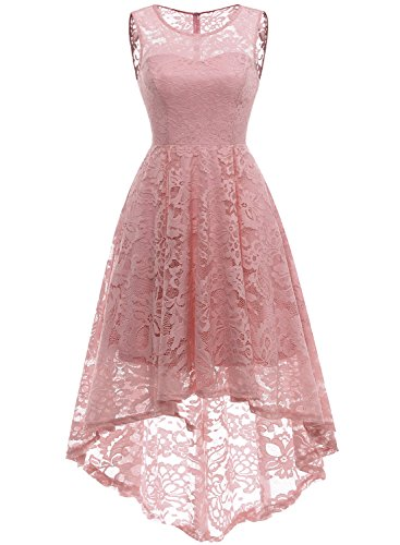 Light Pink Cocktail Dresses - MUADRESS 6006 Women's Vintage Floral Lace Sleeveless Hi-Lo Cocktail Formal Swing Dress Blush 2XL