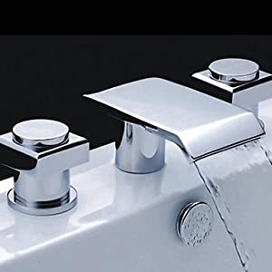 W&P Widespread Two Handles Three Holes in Chrome Bathroom Sink Faucet well-wreapped