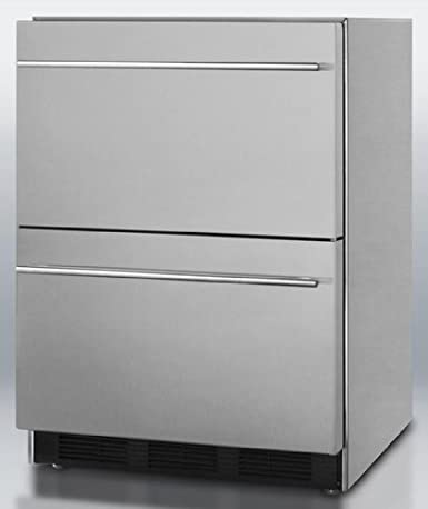 "SP6DS2D7ADA 24"""" 5.4 cu.ft. Commercially Approved Double Drawer ADA Compliant Refrigerator Automatic Defrost Adjustable Thermostat 100% CFC Free: Stainless Steel"