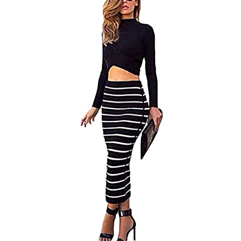 Women Sexy Two-Piece Long Sleeve Crop Top Striped Bodycon Midi Skirt Outfits Dress (S) (Black Midi Set)