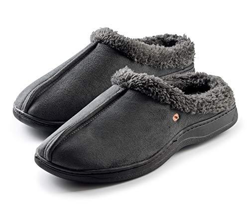 Roxoni Men's Slippers Cozy Memory Foam Warm Winter House Slipper Anti-Skid Rubber Sole Grey from Roxoni