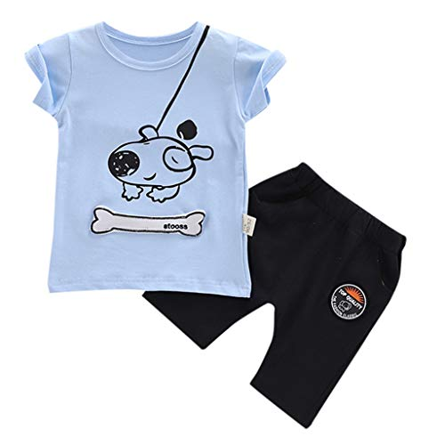 XEDUO Baby Outfits, Baby Boys Girls Favorite Cartoon Dogs Printed T-Shirt Tops Shorts Clothes Set Light Blue -