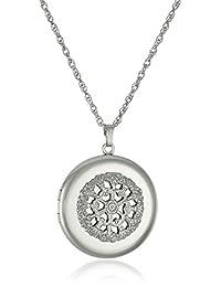 "Sterling Silver Round Filigree Locket Necklace, 22"""