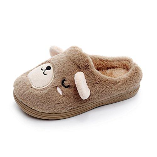 Toddler Girls Boys Slipper Shoes For Kids Warm Winter Bedroom Indoor House Slipper(12 M US Little Kid,Bear Without Elastic -