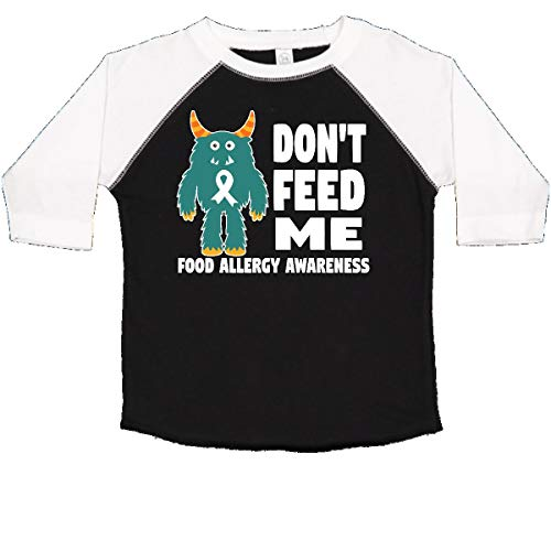 inktastic - Dont Feed Me with Monster Toddler T-Shirt 3T Black and White 29dae