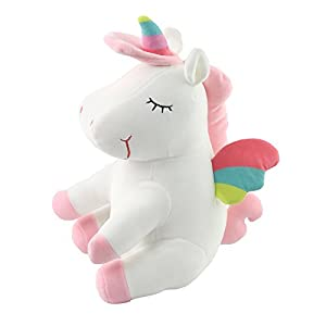 Athoinsu 13 inch Pink Plush Stuffed Fluffy Unicorn Animal Toy Ideal Gift Birthday Present for Girls Aged 3-10 Years Old or As Valentine's Gift for Lovers 11
