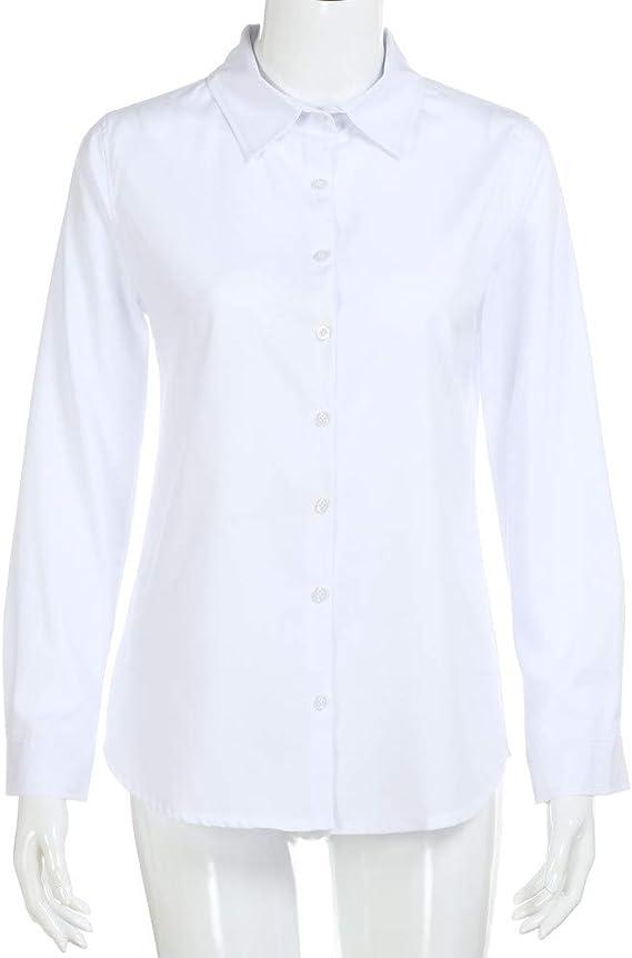 Mujer Camisa otoño, Sonnena Camisa de Manga Larga para Mujer Uniforme Formal de Trabajo de Oficina Top Casual de Mujer: Amazon.es: Ropa y accesorios