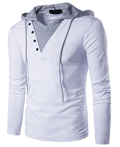 Cool Hooded Long Sleeve (Guoji Men's Casual Slim Fit Long Sleeve T-Shirt with Hooded/Hoodies Tops (B24-White XX-Large))