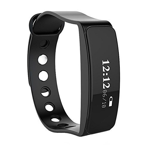 New smart bracelet heart rate monitoring Bluetooth Sports Health Pedometer Bracelet Support Android 4.4, IOS 8.0 and Above System , black by GJX