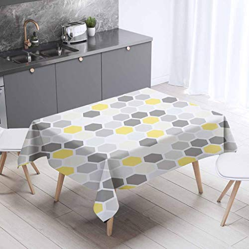 - Else Yellow Gri Tiles Box Geometric 3D Digital Print Decorative Modern Summer BBQ, Catering Events, Dinner Parties, Special Occasions or Everyday Use Tablecloth - 55x55 inch