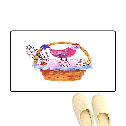 Customize Door mats for Home Mat Watercolor Basket of Easter Eggs