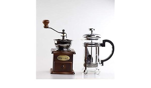 Kayla-lan Cafetera Francesa Prensa de Émbolo Molinillo de café Kit Acero Inoxidable y Vidrio con Acabado en con Filtros, 800ml: Amazon.es: Hogar