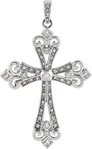Diamond Fleur-de-Lis Cross 14k White Gold Pendant (.625 Ctw, G-H Color, I1 Clarity)