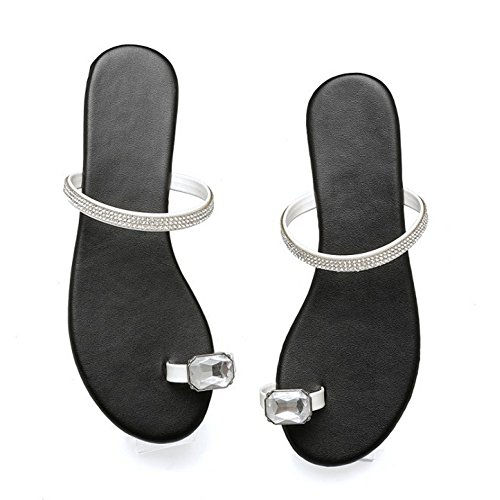 RAZAMAZA Women Toe Ring Summer Slippers White 9yy40x
