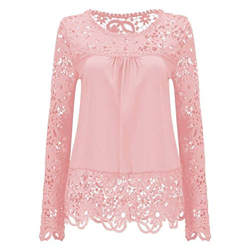 Fashion Style Womens Lace Shoulder Long Sleeve Blouse T Shirt Casual Lace Tops,2,Pink