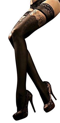 Unbekannt Ballerina Halterlose Damen-Strümpfe, schwarz, Stockings, Spitze, Strapsoptik