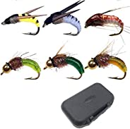 myself 60Pieces Brass Bead Head Fast Sinking 6 Mixed Styles Dry/Wet/Nymph/Streamer Trout Fly Fishing Flies Lur