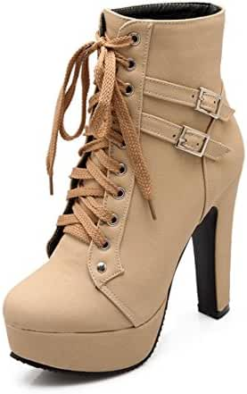 Mostrin Women's Round Toe Buckle Lace Up Ankle Boots Winter Sexy Platform Chunky High Heel Booties