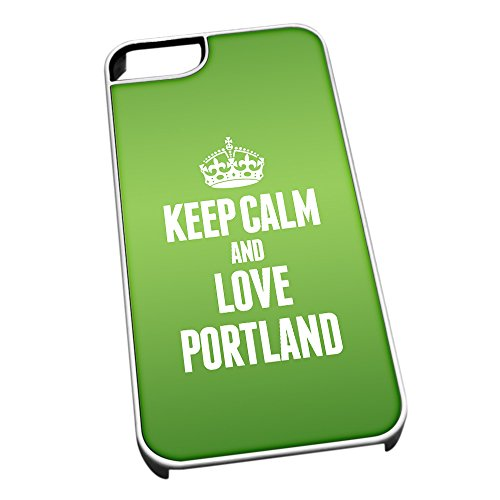 Bianco Cover per iPhone 5/5S Verde 0504 Keep Calm And Love Portland