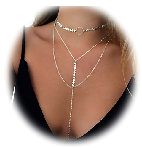 Suyi Stylish Layered Sequins Choker Necklace with Thin Long Chian Pendant for Women Lady Girl A-Silver