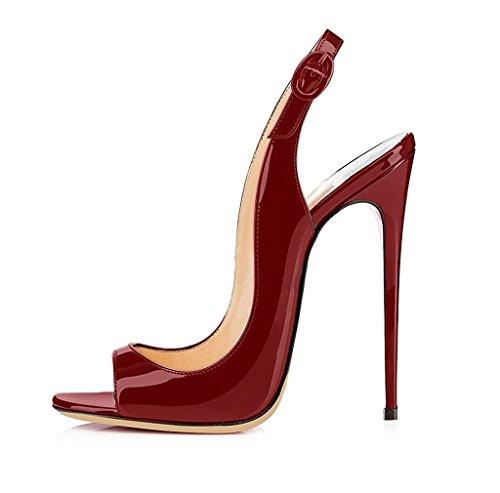 EDEFS Bout Femmes Artisan Fashion Sandales Décolletés 19961 Bout Ouverts Artisan Chaussures à Talon Haut de 120mm Noir Rouge 9c8f5ba - boatplans.space