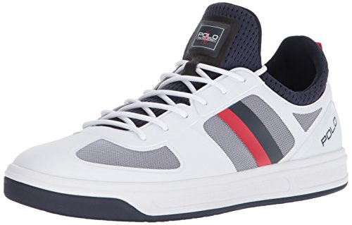 Polo Ralph Lauren Men's COURT200 Sneaker, Pure White/French Navy/rl red, 9 D - Mesh Sneakers Leather