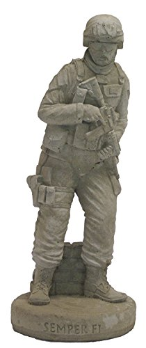 (Solid Rock Stoneworks Combat Marine Stone Statue Desert Sand Brown Color 24in Tall)