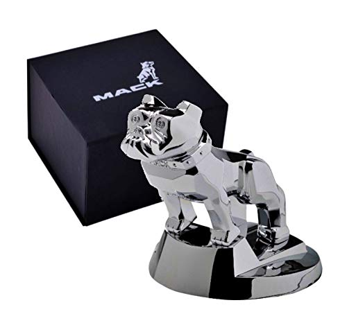 (Mack Trucks Large Hood Ornament Bulldog Chrome Paperweight with Collector Box )