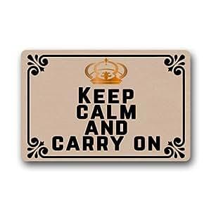 "Funny Doormats Keep Calm And Carry On–resistente lavable a máquina interior/al aire libre Felpudo 23.6""(L) X 15,7(W) pulgada"