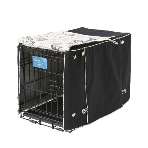 Crate Covers and More Double Door 22 Pet Crate Cover, Black Twill with Parisian Black