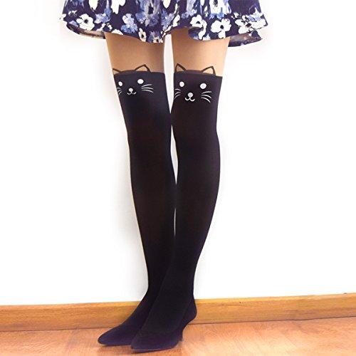 K-Pop Kawaii Cute Cat Kitty Cartoon Animal Mock Knee High Tattoo Tights Stockings Mother's Day (Cartoon Tights For Women)