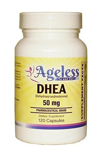 DHEA 50 mg - 120 capsules de Ageless dans et dehors - favorise un niveau hormonal équilibré - enté comme précurseur des hormones sexuelles mâles et femelles, testostérone et les œstrogènes