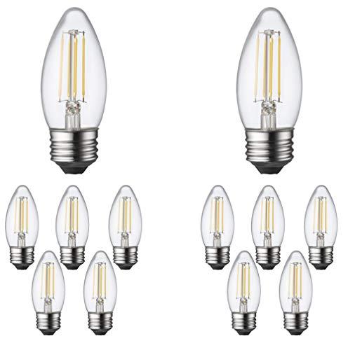 TCP 25 Watt LED B11, 12 Pack, Soft White 2700K, Dimmable Medium Base (E26) Chandelier Light Bulbs