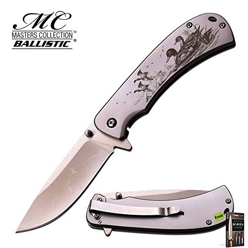 SPRING-ASSIST FOLDING POCKET KNIFE Classic Silver Carbon Sharp Blade Duck Hunter MC-A032SL Knife + Free eBook by SURVIVAL STEEL