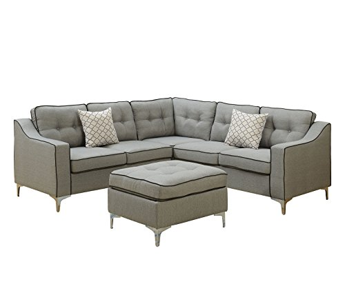 - Poundex F6998 Bobkona Effie Sectional with Ottoman, Light Grey