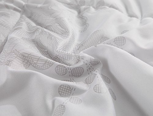Alicemall Full Size Comforter Duvet Insert White Hypoallergenic Stain Cotton Printing Silky Hollow Fiber Filled Quilt, Twin/ XL Twin/ Full/ Queen/ King/ California King (Full) by Alicemall (Image #5)