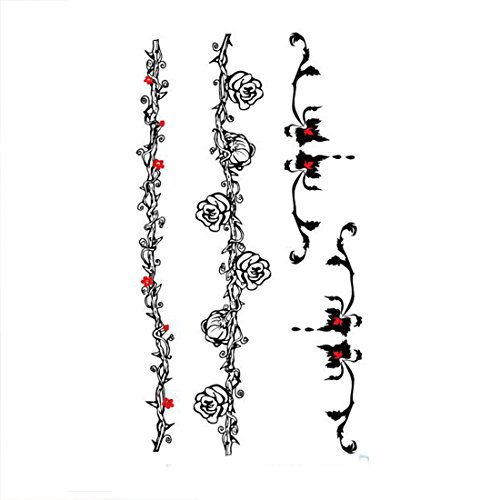 (Women Sexy Water Transfer Waterproof Temporary Tattoo Sticker Body Vine Flower )