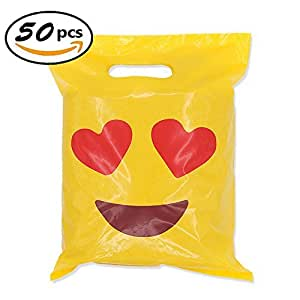 """Cevinee 50PC Glossy Merchandise Bags, Handy Retail Shopping Bags, Cute Party Favor Bags - Emoji in Love - No Gusset - Die Cut Handle - 9"""" x 12"""" - 2.0 Mil, Yellow"""