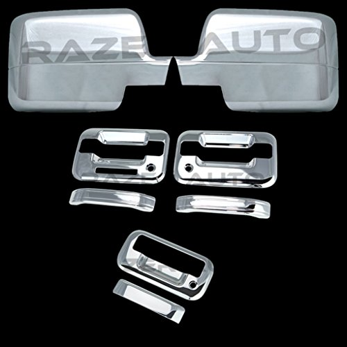 Razer Auto Triple Chrome Plated Mirror Cover (Will Not Fit XL, STX Or 04 Heritage), 2 Door Handle Cover with Keypad and with Passenger Keyhole, Tailgate Handle Cover for 04-08 Ford F150