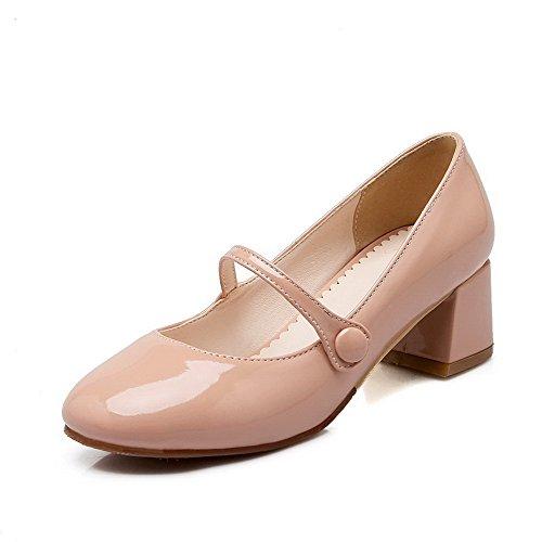 AllhqFashion Damen PU Leder Rein Schnalle Quadratisch Zehe Mittler Absatz Pumps Schuhe Nackte Farbe
