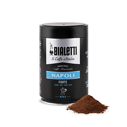 Bialetti Coffee, Moka Ground, Dark Roast, Napoli, Italy Signature Robusta Arabica Blend, Vacuum Sealed 8.8 Ounce Tin Can