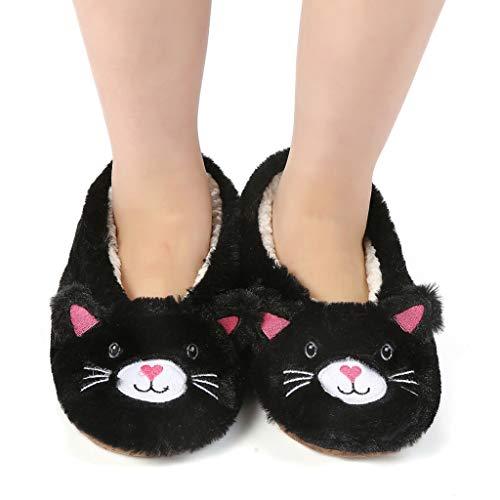 Panda Bros Womens Cozy&Warm Animal Slipper Socks with Grippers-House Socks(Black Cat,5-7.5)