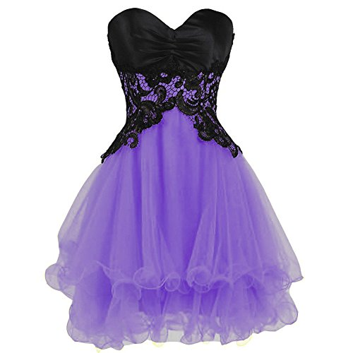 Prom Lavender Lace Dresses Gown Lemai Cocktail Short Black Homecoming Gothic Formal Tulle 8nqxP6wYt7